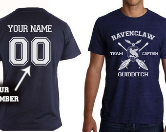 Ravenclaw shirt Team Captain Quidditch tshirt Customize name and number Unisex S - XXL