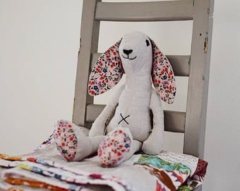 Made to order Flopsy Bunny in natural linen with black polka dot accent fabric