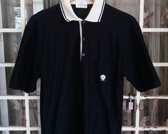 Vintage Givenchy paris polo tee single pockey embroidery/black with white collar/made in italy