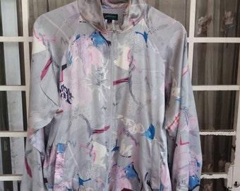 Vintage Boroque bomber silk jacket pullover/abstract design/multicolour design/pop art design/made in usa