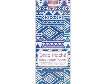 Blue Aztec Pattern Decoupage Papers x 3 - First Edition