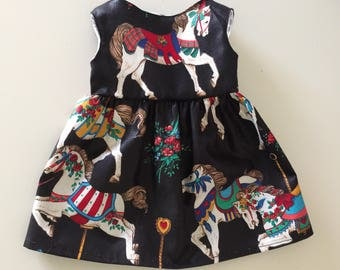 Carousel Horses on Black, Spring, Summer, Party, Made to Fit Like American Girl Doll Clothes, Madame Alexander, 18 in Dolls, Bitty Baby