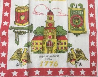 Vintage Bicentennial Tea Towel Linen Parisian Prints 1976 1776 Red Independence Hall Patriotic