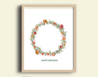 Printable, Happy Birthday sign, party decorations, instant download, floral printable birthday, digital print 8x10, flowers, birthday banner