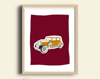 Antique car print, PRINTABLE, vintage car illustration, vintage automobile decor, old car print, antique car decor vintage car gift, Jpg art
