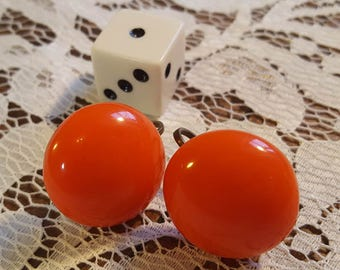 Orange Plastic Vintage Screw-back Earrings