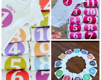 12 personalised Baby milestone age months old bodysuits vests Choose colour