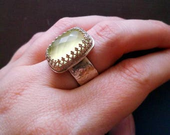 Sterling Silver Prehnite Ring