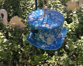 Hand Sculpted Hanging Ceramic Bird Feeder In and Out Fly Through