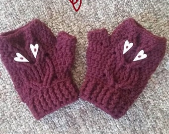 Crochet handmade fingerless owl mittens, any color you choose