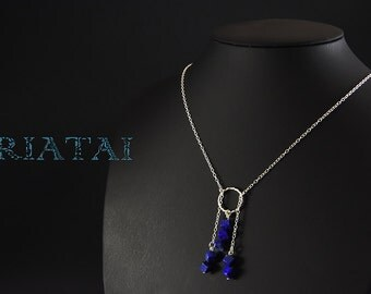 Natural  lapis lazuli with sterling silver.