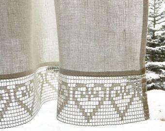 White Linen Curtain, Linen Valance, Linen Kitchen Curtain, Linen Bathroom Curtain, White curtain with lace, White linen curtains kitchen