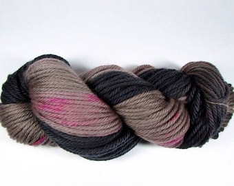 SALE, Hand Dyed Bulky Yarn, Chunky, Dip Dyed, Soft Black, Taupe, Raspberry Pink Speckles, Superwash Merino Wool, Sassy Classy, Ready to Ship