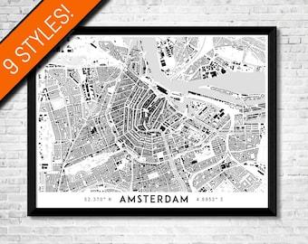Buildings of Amsterdam map art   Printable Amsterdam map print, Amsterdam print, Amsterdam poster, Amsterdam art, Netherlands map wall art