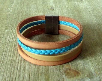 Turquoise/natural, 20MM magnetic leather bracelet