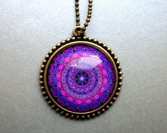 Mandala Necklace Gift for Girlfriend Birthday purple pink Om Chakra Meditation