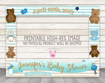 PRINTABLE Boy Baby Shower Photo Booth Frame, Teddy Bear Photo Booth Frame, Gender Reveal Photo Booth Frame, Teddy Bears Photobooth Frame Boy