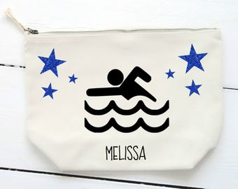 Swimmer Make Up Bag,Cosmetic Bag,Accessory Bag,Pouch,Girls Swimming Gift,Gift for Her,Teen Gift, Female Swimmer,Personalised  Bag Swim Squad