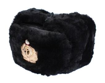 Soviet Navy Genuine Leather Mouton Fur hat USHANKA USSR Naval fleet