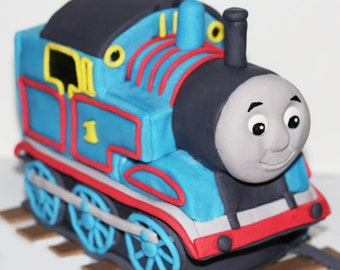 Edible Thomas the train fondant cake topper