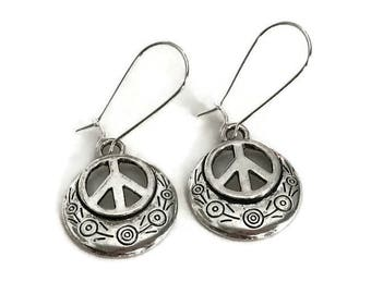 Silver Peace Sign Earrings - Peace Symbol Jewelry - Simple Everyday Jewelry - Peace Sign Earrings - Silver drop earrings