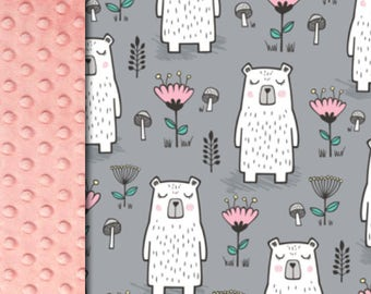 Baby minky blanket, flowers bears blanket,  girl blanket,  woodland gray pink blanket, bear bedding throw blanket, baby shower gift, birth