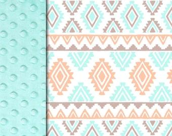 Minky blanket, Aztec aqua blanket, baby Adult blanket, throw blanket, tribal southwest blanket, baby shower gift, birth gift