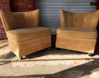 On Hold For Sherri Pair of Vintage Mid Century Regency Fanback Club Chairs