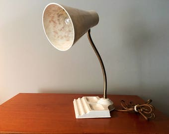 Vintage White & Gold Fiberglass Desk Lamp