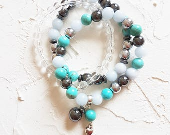 Turquoise bracelet, Quartz bracelet, Jade bracelet, Silver bracelet, Colorful bracelet, Set of 3, Heart charm bracelet, Meditation bracelet