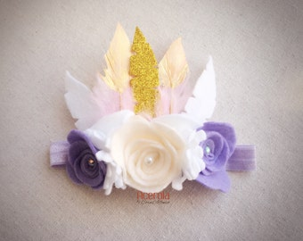 Boho Headband with felt flowers and feathers