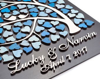 3D Wedding Guest Book Alternative Wedding Tree Wood guest book Rustic Wedding Guestbook Tree of Hearts Wedding gift CUSTOM COLORS W3D