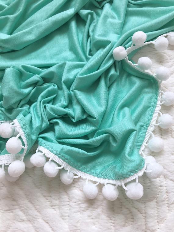 Pom Pom Blanket, Seafoam Green Pom Blanket, Baby Blanket, Crib Blanket, Blankie, Gender Neutral Blanket,Seafoam Pom Pom Blanket