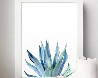 Plant Print. Agave Plant. Flora Art. Watercolor Plants. Blue Plant. Watercolor Illustration. Blue Print. Plants Printable. Nature Art. Plant