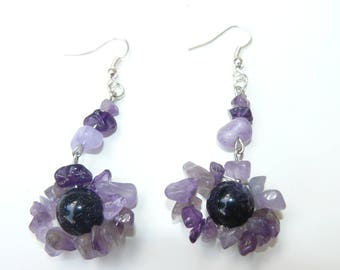 Earrings, handmade, amethyst, aventurine semi-precious stones