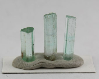 Green beryl crystal 3 piece selection 4.2 ct