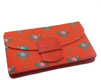 Liberty fabric clutch purse • vintage Liberty of London leather lined handbag • red floral print cloth bag • fold over • envelope • foldover
