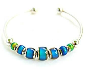 Mood Bead Bracelet | Boho Bracelet | Mood Cuff Bracelet | Colorful Jewelry | Color Changing  | All Three Photos Are Of The Same Bracelet