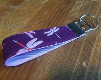 Purple Dragonfly Fabric Keyring