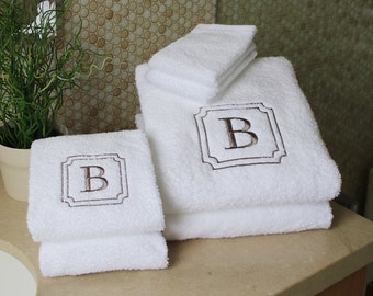 100 % USA Made | 6 Piece Set | Monogram Towels | Personalized Orders | Gift Ideas | Decorative | Luxury Towels | Soft & Durable