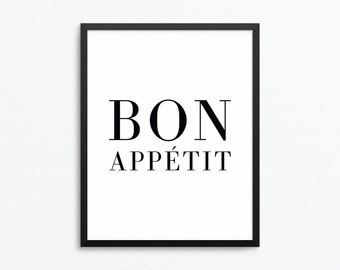 Bon Appetit Print, Kitchen Print, Kitchen Art, French Print, Food Print, Kitchen Poster, Food Art, Digital Download, Digital Print