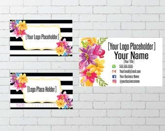 Black and White Striped Business Card