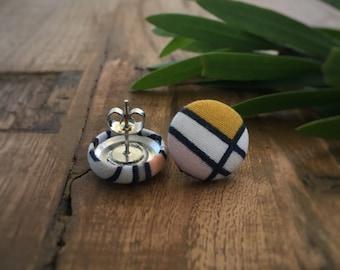 Geometric Earrings. Mustard, Pink, Navy Blue, Grey Earrings. Fabric Button Earrings. Handmade Earrings. Stud Earrings. Clip On Earrings.