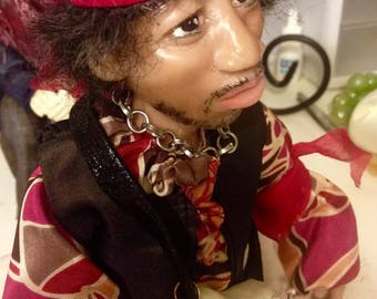 Collectible portrait doll of Jimmy Hendrix