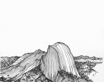Wall art, Yosemite, black and white art, art print, original art, pen and ink, black and white print, interior detail