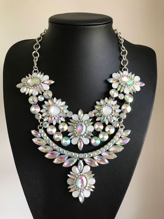 Large silverwhite flower statement necklace like this item mightylinksfo
