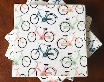 Coasters, Decorative Coasters, Set of 4 Coasters, Tile Coasters, Drink Coasters, Ceramic Coasters, Bicycle Coasters