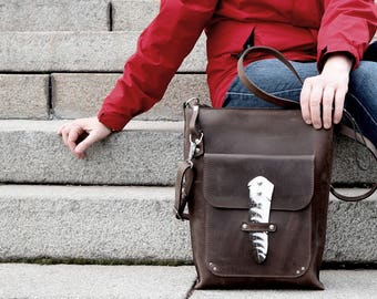 Men's leather bag Laptop leather purse Minimalistic crossbody bag Crossover bag Totem feather falcon bag Shoulder bag gift for him
