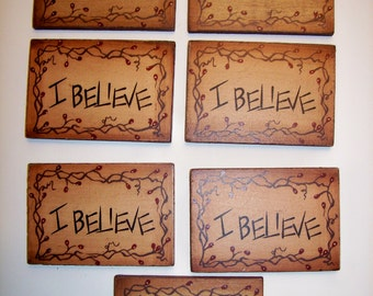 """Lot of 7 wood magnet signs """"Believe"""" with berry vine / crafting suppplies"""