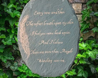 More Than Angels Watching Over Me - Hand Painted Slate Sign